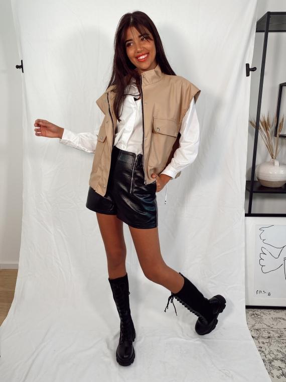 Beige WILLIE sleeveless leatherette jacket