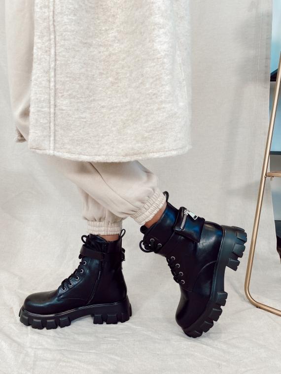Boots à pochettes WEEK noires