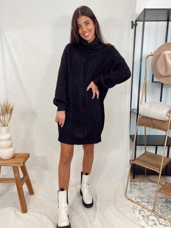 Robe pull en maille tressée CORIE noire