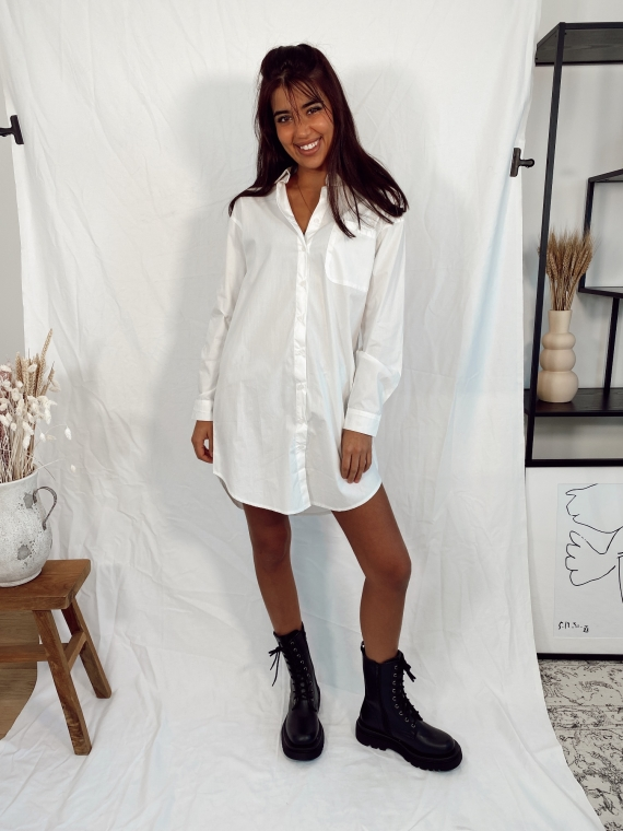 Robe chemise AMBITIOUS blanche