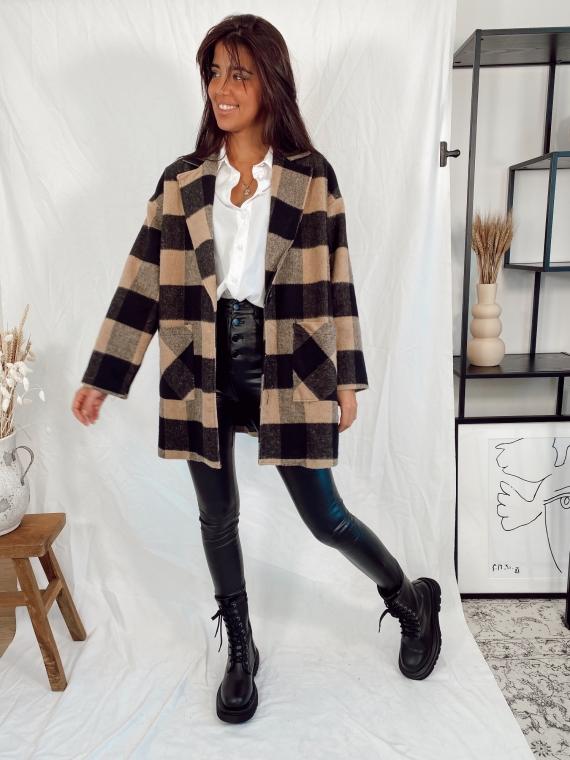 Manteau à gros carreaux LIBRA camel/noir