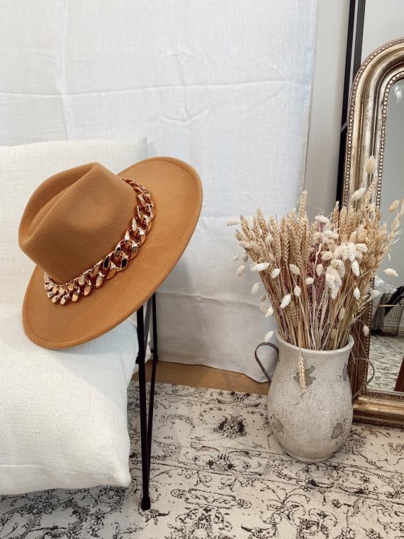 Chapeau avec chaîne FEDORA camel