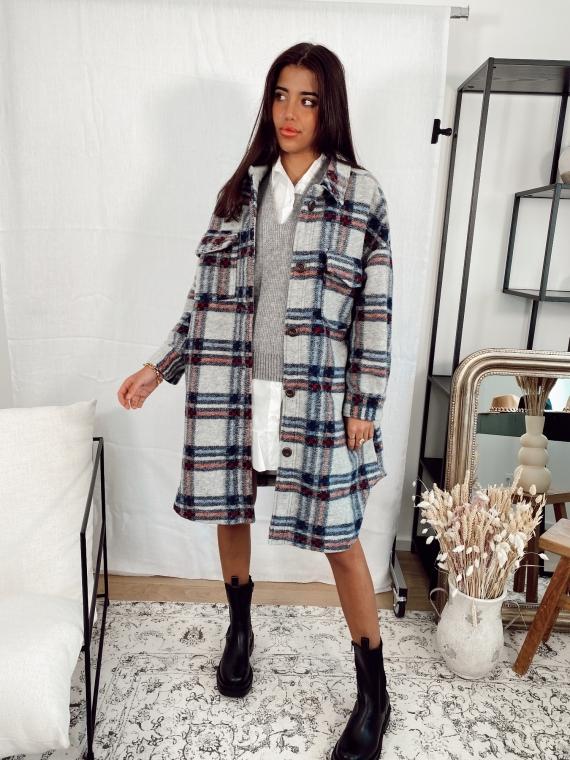 Veste laineuse à carreaux PILOU grise