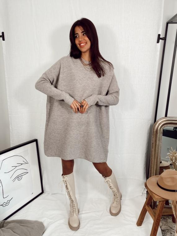 Robe pull en maille côtelée MOMENT grise