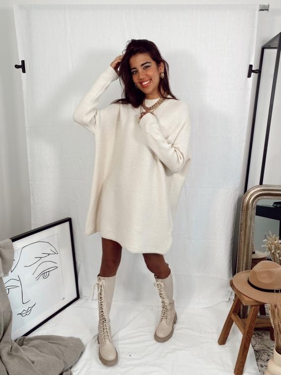 Robe pull en maille côtelée MOMENT beige