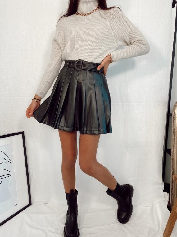 Jupe plissée SCARF similicuir noir
