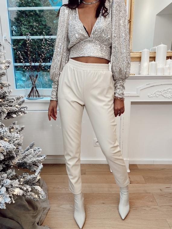 Pantalon simili cuir beige FIREWORKS
