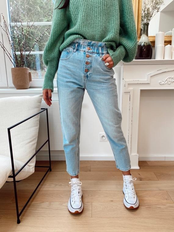 Jeans mom boutons MODEST bleu clair