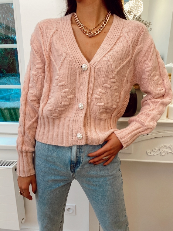 Pink Vest textured flower buttons pearls ARTHUR
