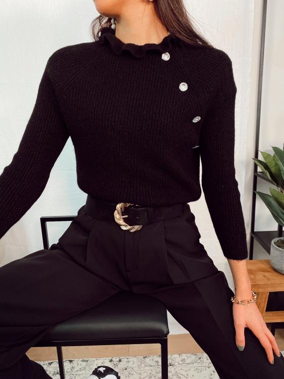 Pull basique bijoux NOVELLA noir