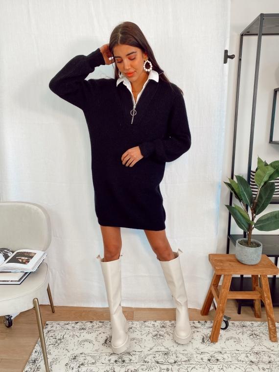 Robe pull à zip NEELO noire