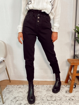 Jeans mom boutons MODEST noir