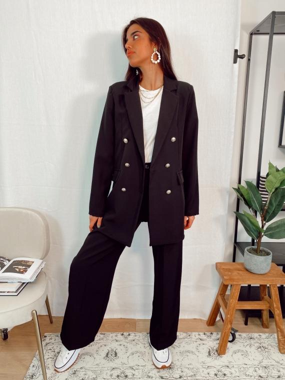 Ensemble blazer et pantalon boutons dorés TILL noir