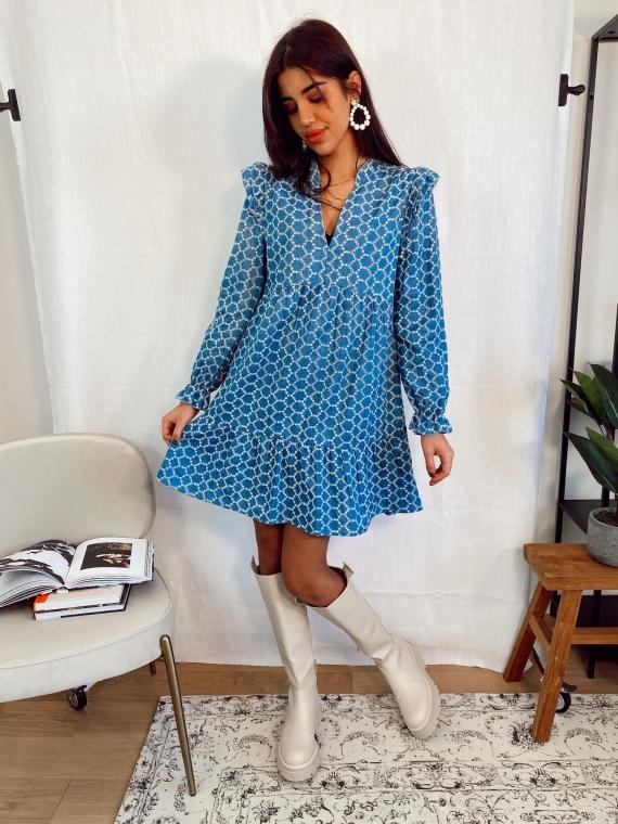 Robe ajourée MITLON bleue