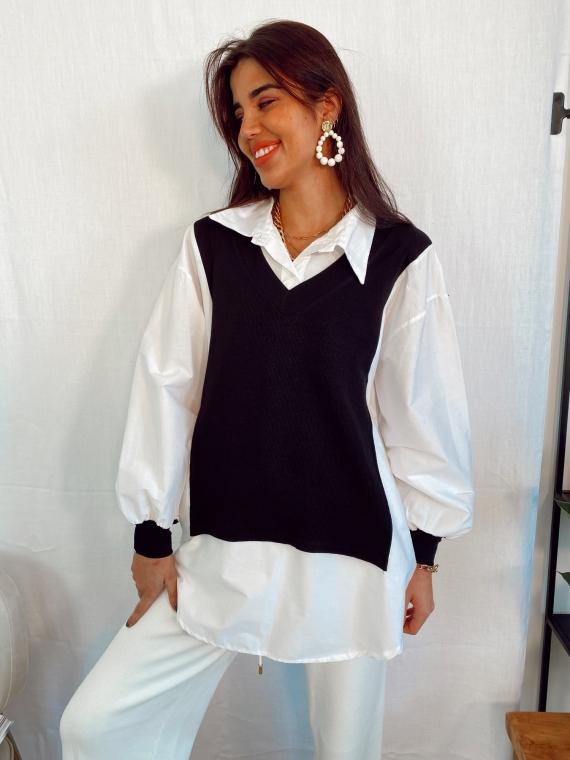 Pull col V noir WINDOW avec chemise intégrée