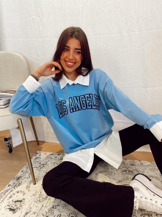 Sweat LOS ANGELES chemise intégrée bleu