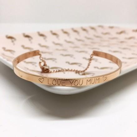 Bracelet jonc MAMAN LOVE YOU MUM rose doré