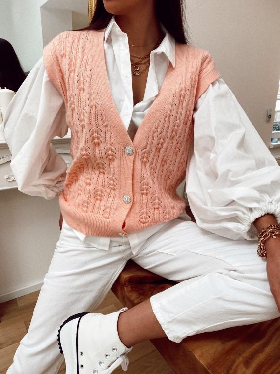 Gilet ajouré boutons bijoux MARC rose