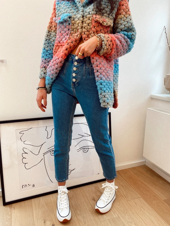 Jeans coupe mom boutons CHRISTIAN bleu