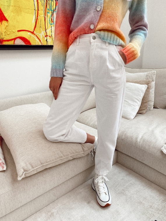 Jeans coupe slouchy DANCER blanc