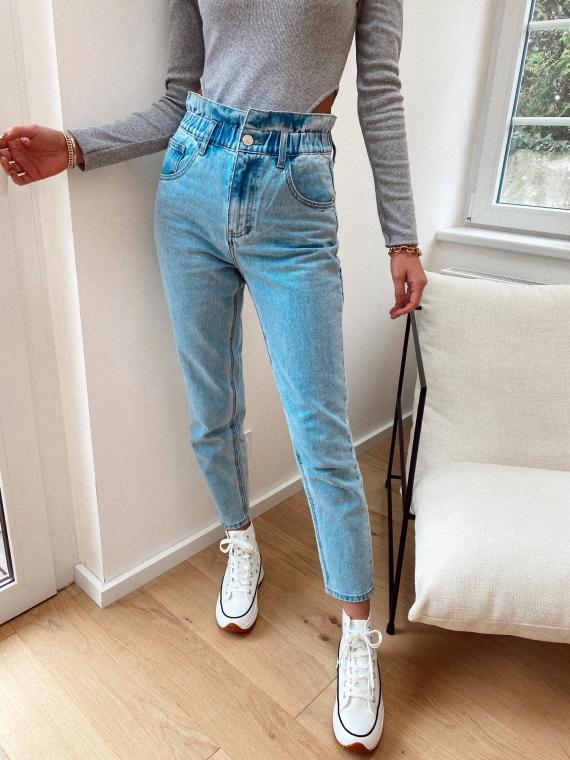 Jeans coupe mom élastique à la taille LYRIC