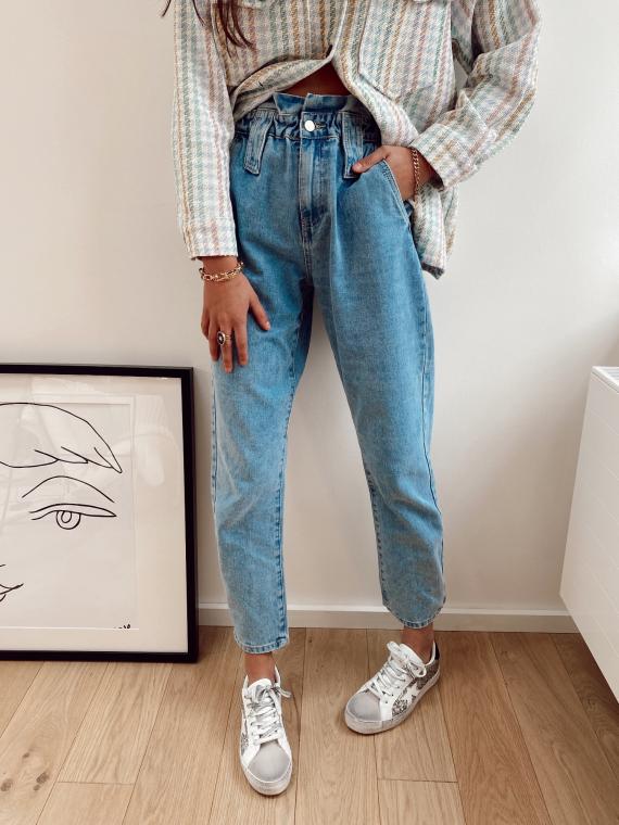 Jeans coupe mom taille élastique TELLING bleu