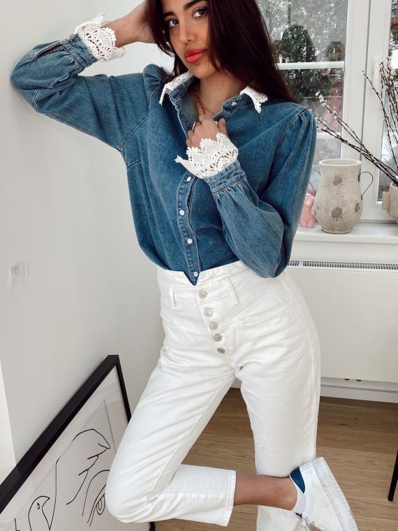 Chemise en jeans ourlets dentelle ADIL bleue