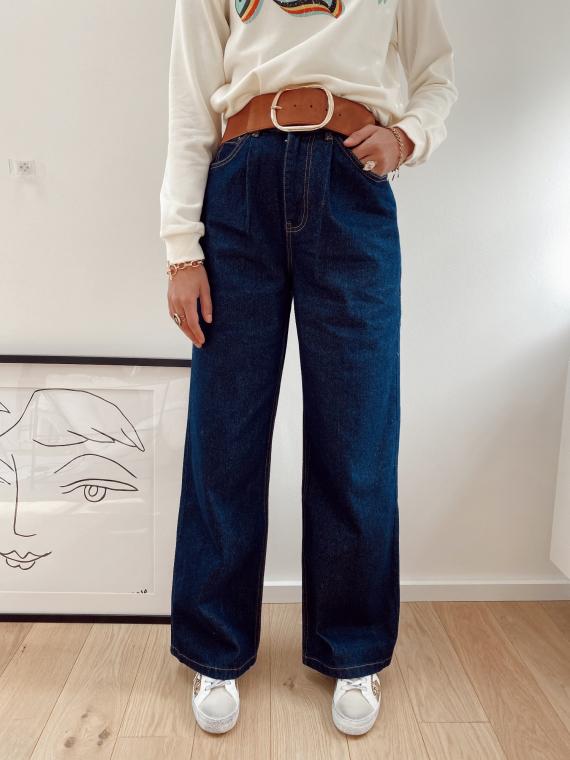Jeans taille haute evasé TEDO bleu brut