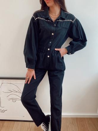 Combinaison en jeans cloutées CESAR noire