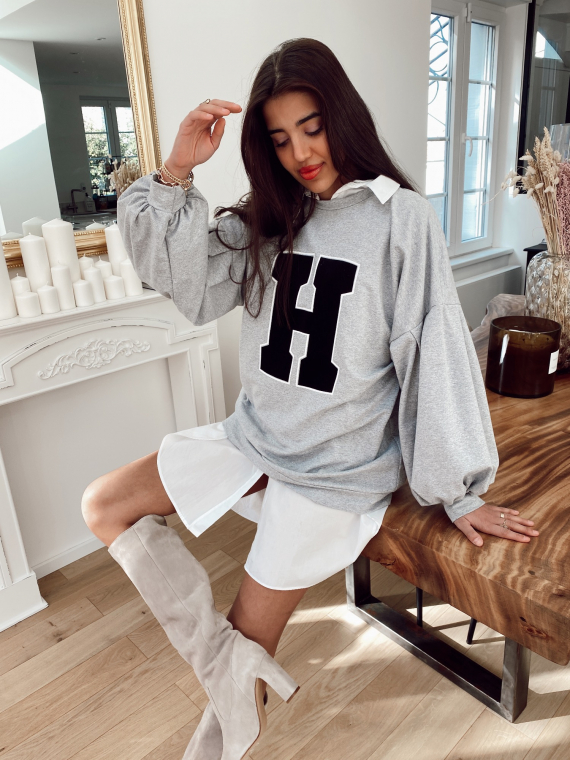 Sweat oversize HIGH-SCHOOL gris