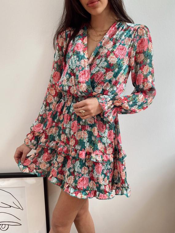 Robe fleurie à volants MONOÏ verte