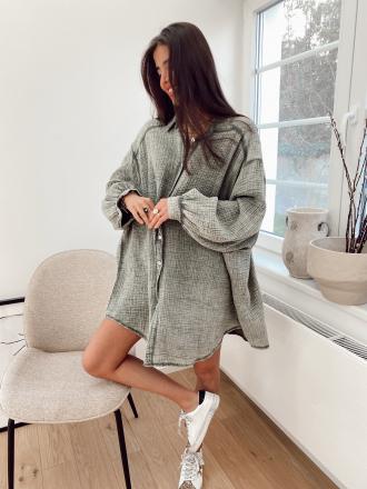 Robe chemise en gaze de coton BORN TO LOVE kaki