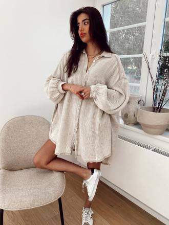 Robe chemise en gaze de coton BORN TO LOVE beige