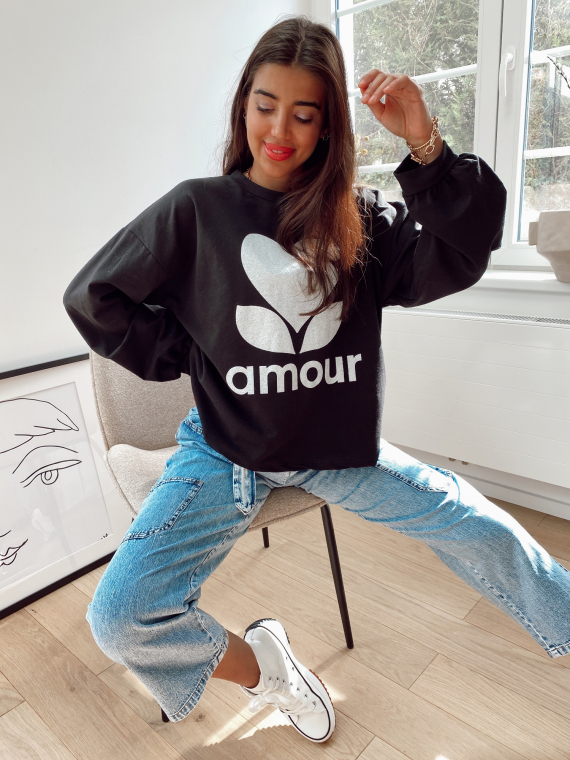 Sweat oversize AMOUR noir