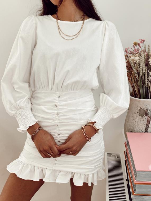 Robe froncée boutons bijoux PETUNIA blanche