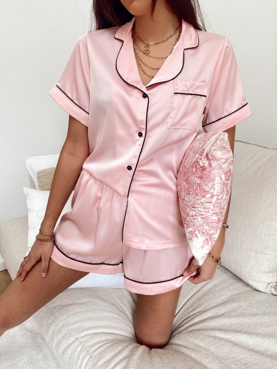 Ensemble pyjama satiné NOHÉ rose