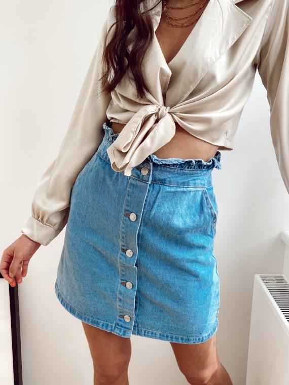 Jupe droite à boutons CHEEKS en jeans