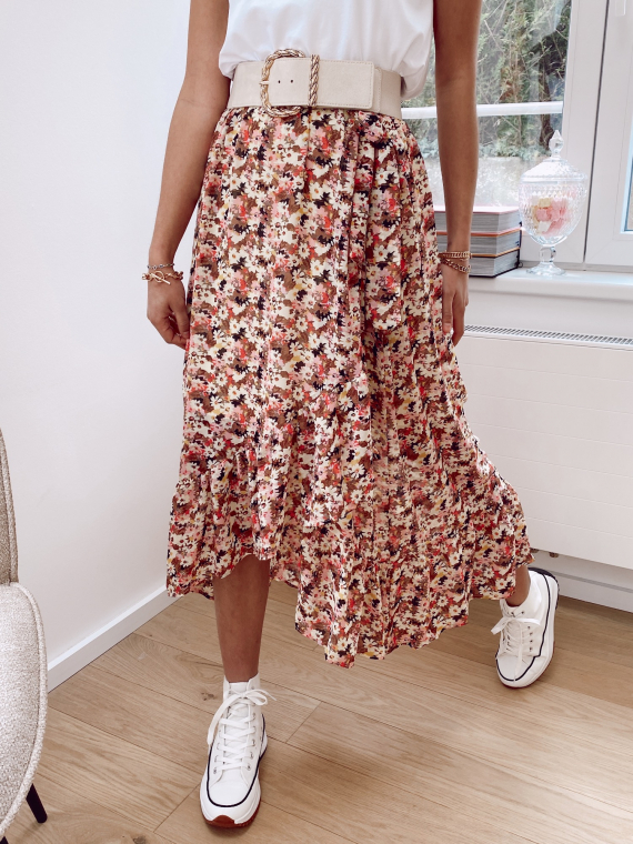 Jupe longue coupe portefeuille fleurie LORAINE rose