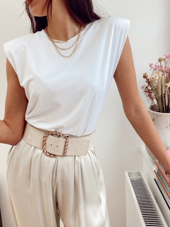 T-shirt à épaulettes MEDUSA blanc