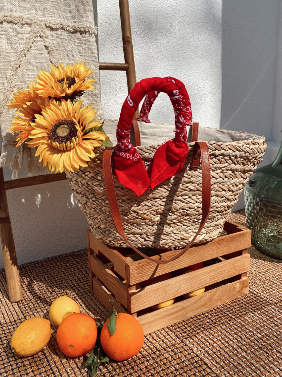 Red MAGNOLIA wicker basket with bandana handles