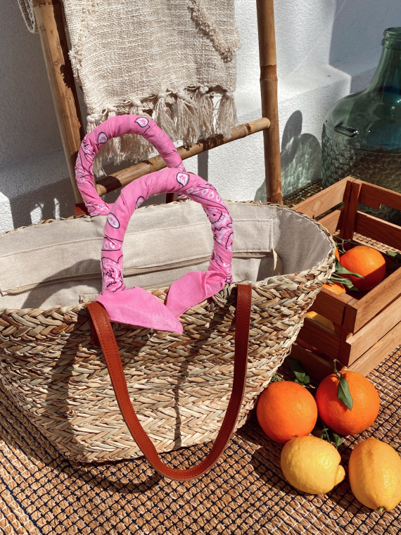 Pink MAGNOLIA wicker basket with bandana handles