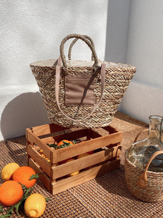 Pink BOA wicker basket with leather pocket