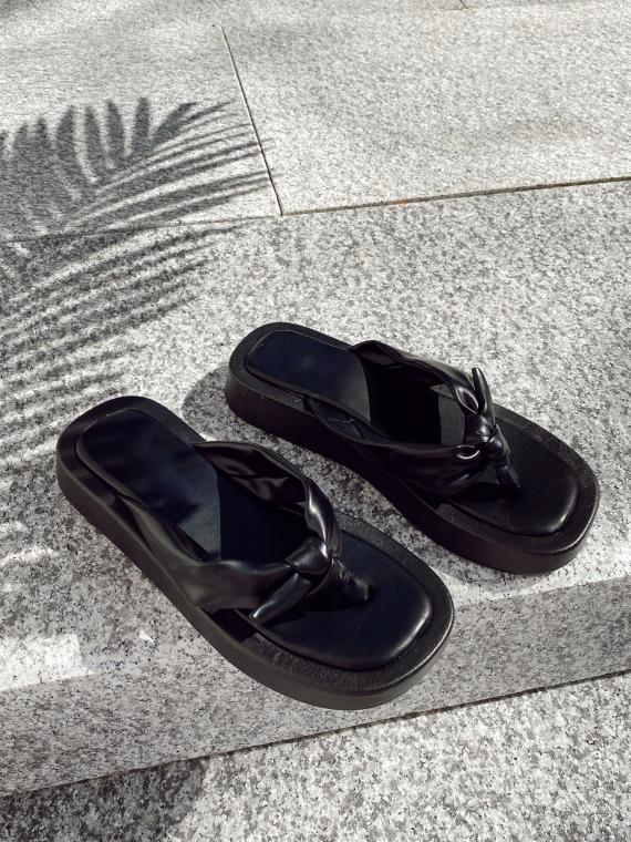 Black SANDRA platform flip-flops