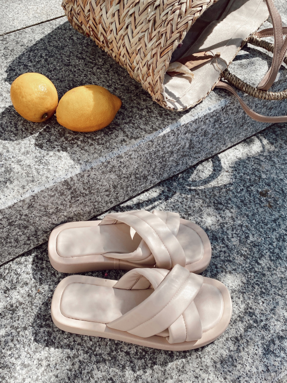 Beige LUPES platform sandals