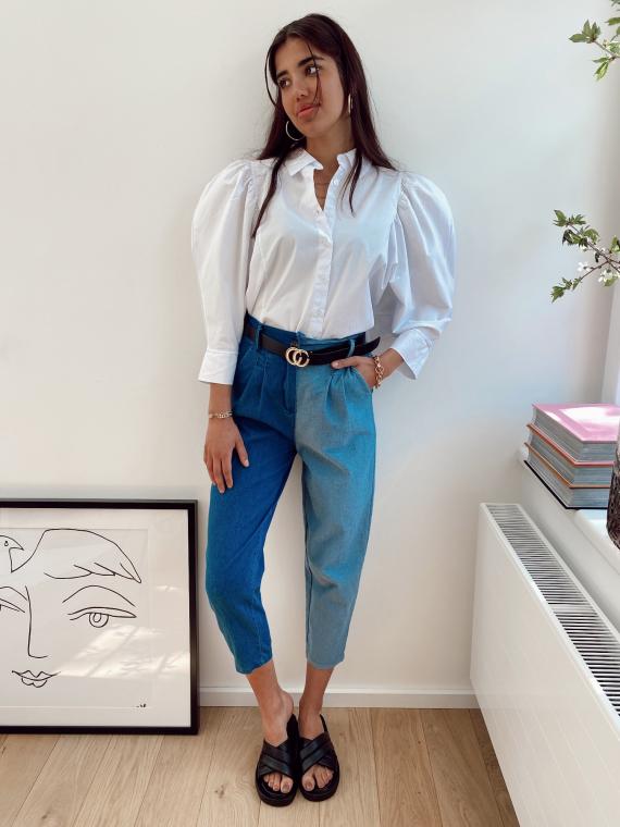 Jeans coupe slouchy KOLA color-block bleu