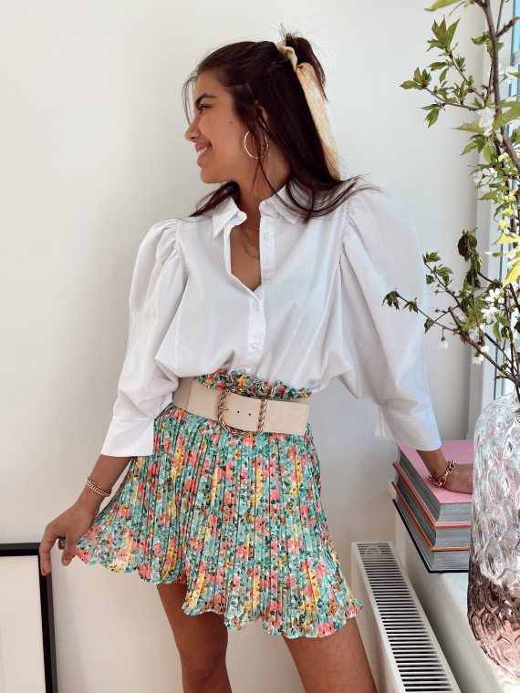 Green LILYBELLE floral pleated skirt