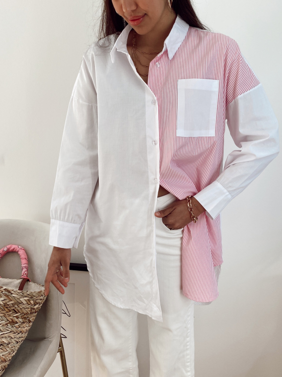 Pink DAVIS striped color block shirt