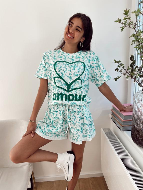 Ensemble t-shirt et short AMOUR libertie vert