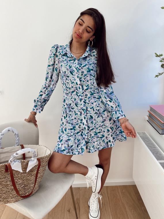 Robe chemise fleurie ROMARIN bleue