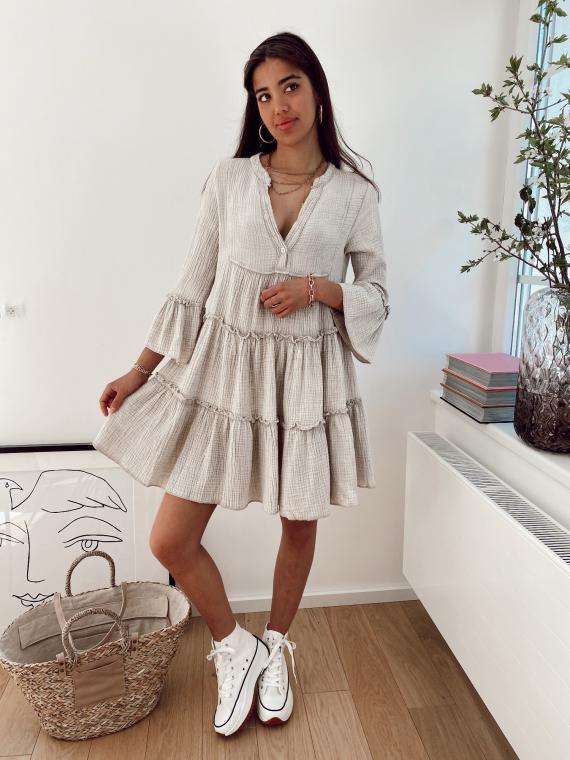Beige BRUNI babydoll dress